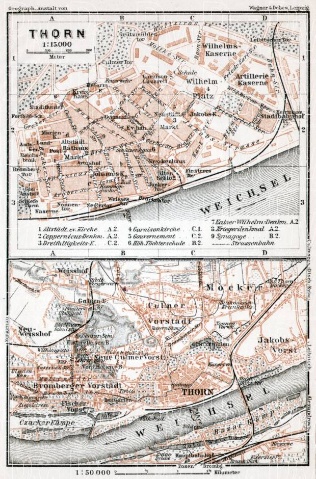 Old map of Torun Thorn in 1911 Buy vintage map replica poster