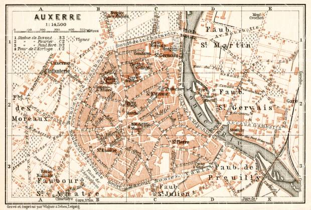 Auxerre city map, 1909. Use the zooming tool to explore in higher level of detail. Obtain as a quality print or high resolution image