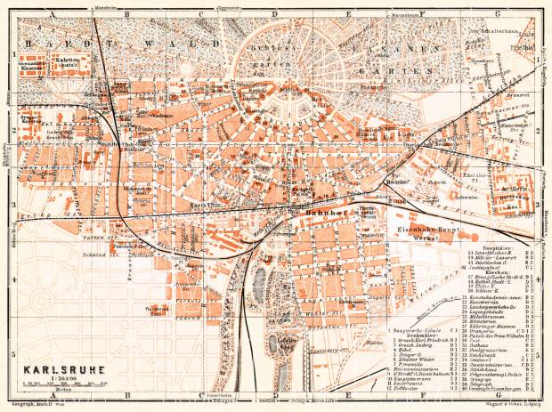 Old map of Karlsruhe in 1906 Buy vintage map replica poster print