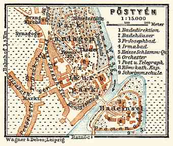 Postyen (Piešt´any, Pieštany) city map, 1911