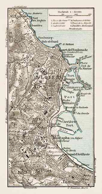 Algiers (الجزائر‎, al-Jazā'er). Map of the nearer environs of Algiers, 1913