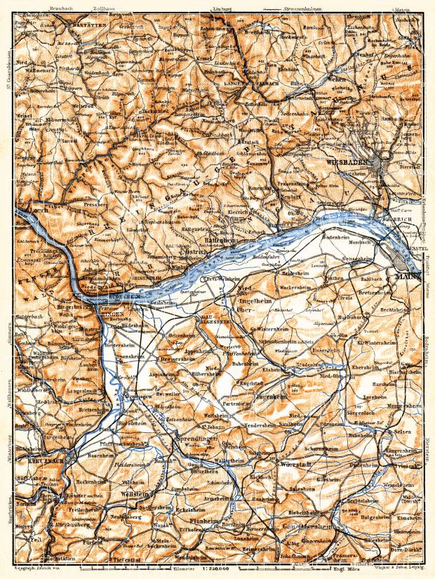 Rheingau Mountains map, 1905. Use the zooming tool to explore in higher level of detail. Obtain as a quality print or high resolution image