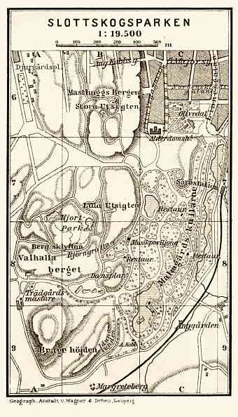Göteborg (Gothenburg), Slottskogsparken map, 1910