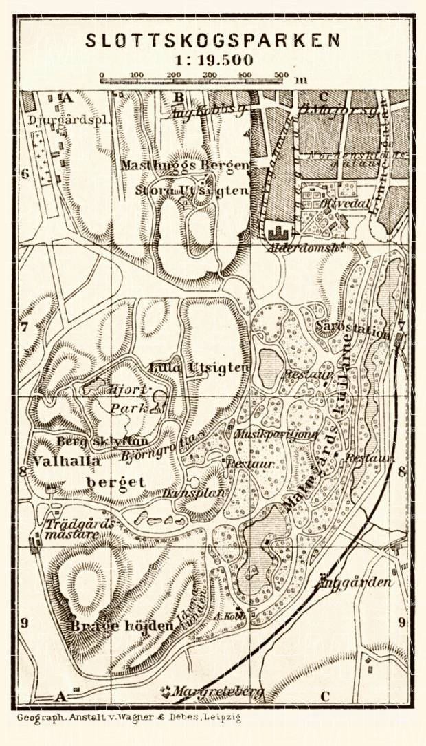 Göteborg (Gothenburg), Slottskogsparken map, 1910. Use the zooming tool to explore in higher level of detail. Obtain as a quality print or high resolution image