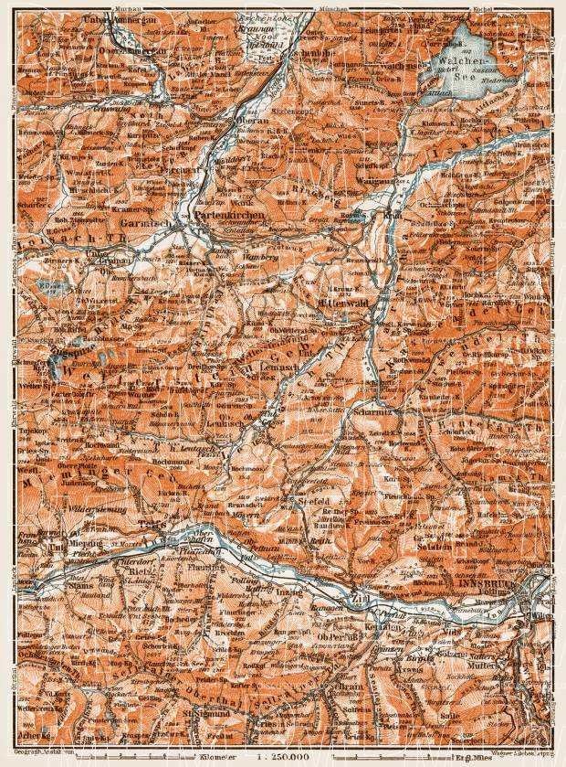 Map of the environs of Partenkirchen, 1909. Use the zooming tool to explore in higher level of detail. Obtain as a quality print or high resolution image