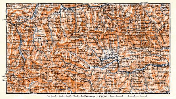 Lungau and Lower Tatras region map, 1910. Use the zooming tool to explore in higher level of detail. Obtain as a quality print or high resolution image