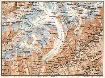 Aletsch Glacier and environs map, 1909