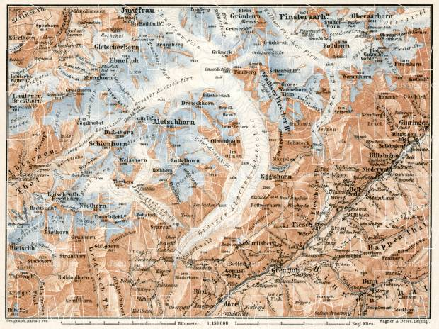Aletsch Glacier and environs map, 1909. Use the zooming tool to explore in higher level of detail. Obtain as a quality print or high resolution image