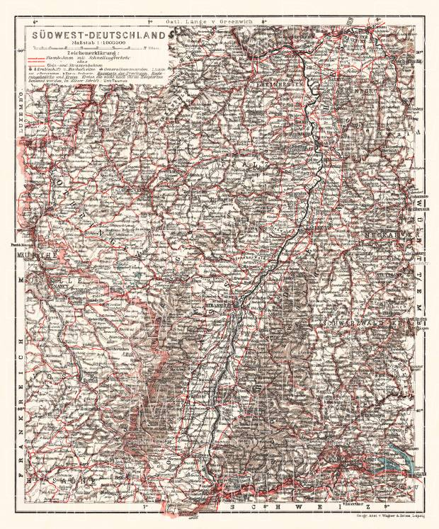 Germany, southwestern regions. General map, 1913. Use the zooming tool to explore in higher level of detail. Obtain as a quality print or high resolution image