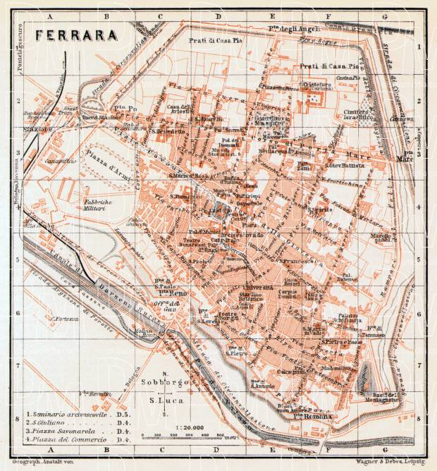 Old map of Ferrara in 1908 Buy vintage map replica poster print or