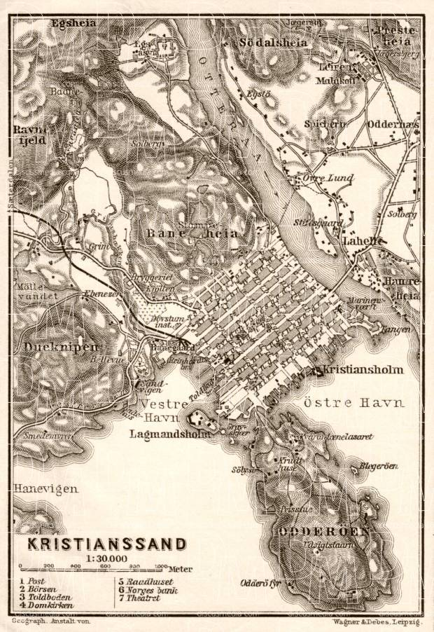 Kristianssand (Kristiansand) town plan, 1910. Use the zooming tool to explore in higher level of detail. Obtain as a quality print or high resolution image