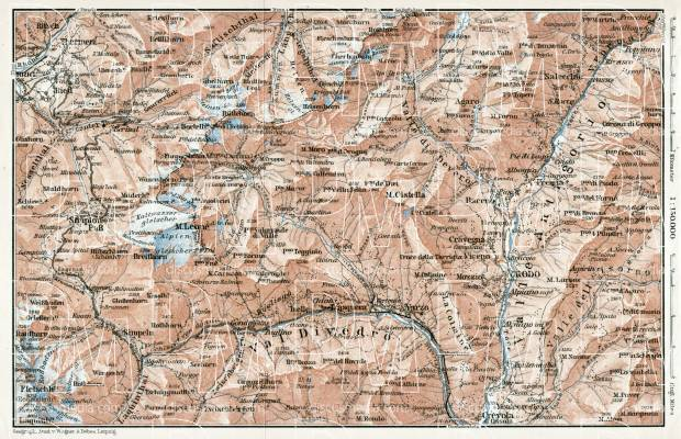 Simlplon and Antigorio Valley map, 1909. Use the zooming tool to explore in higher level of detail. Obtain as a quality print or high resolution image