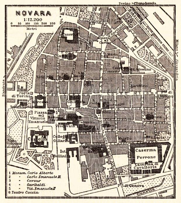 Old map of Novara in 1908 Buy vintage map replica poster print or