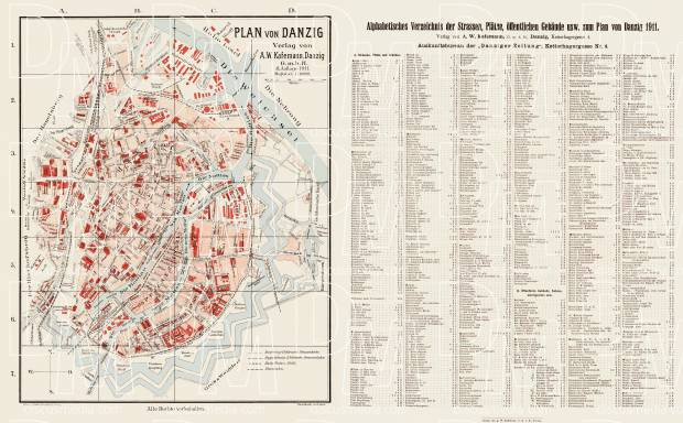 Danzig (Gdańsk) city map, 1911. Use the zooming tool to explore in higher level of detail. Obtain as a quality print or high resolution image