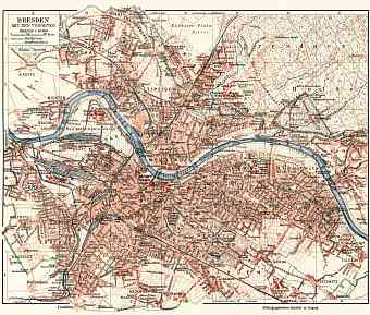 Dresden and nearer suburbs map, about 1910