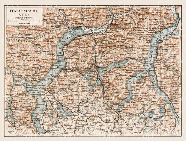 Italian Lakes. Como Lake (Lago di Como), Lugano Lake (Lago di Lugano) and Lake Maggiore with their environs, region map, 1903. Use the zooming tool to explore in higher level of detail. Obtain as a quality print or high resolution image