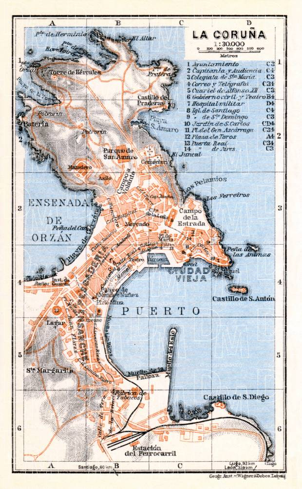 La Coruña city map, 1929. Use the zooming tool to explore in higher level of detail. Obtain as a quality print or high resolution image