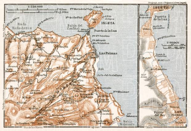 Las Palmas de Gran Canaria and environs map, 1911. Use the zooming tool to explore in higher level of detail. Obtain as a quality print or high resolution image