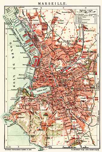 Marseille city map, 1904