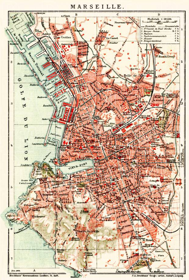 Marseille city map, 1904. Use the zooming tool to explore in higher level of detail. Obtain as a quality print or high resolution image