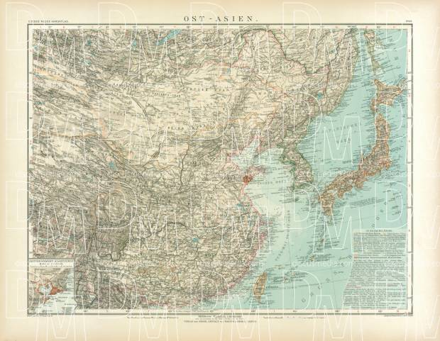 Eastern Asia Map, 1905. Use the zooming tool to explore in higher level of detail. Obtain as a quality print or high resolution image