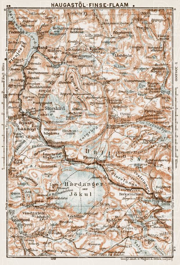Haugastöl (Haugastøl) - Finse - Flaam (Flam, Flåm) area map, 1931. Use the zooming tool to explore in higher level of detail. Obtain as a quality print or high resolution image