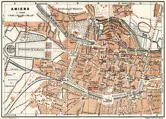 Amiens city map, 1913