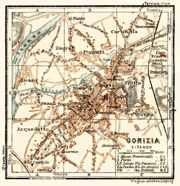 Gorizia (Görz) town plan, 1929. Use the zooming tool to explore in higher level of detail. Obtain as a quality print or high resolution image