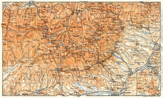 High Tatras map, 1911. Use the zooming tool to explore in higher level of detail. Obtain as a quality print or high resolution image