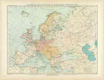 Political Map of Europe and Communication Lines, 1905