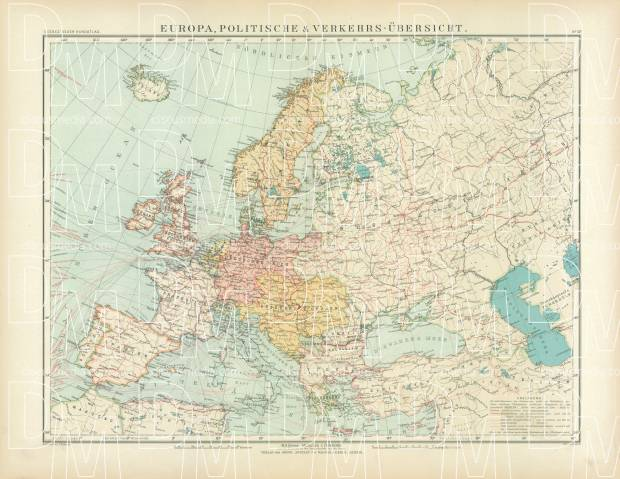 Political Map Of Europe And Communication Lines, 1905. Use The Zooming Tool  To Explore