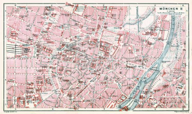 Old map of the central part of Munich Mnchen in 1913 Buy vintage