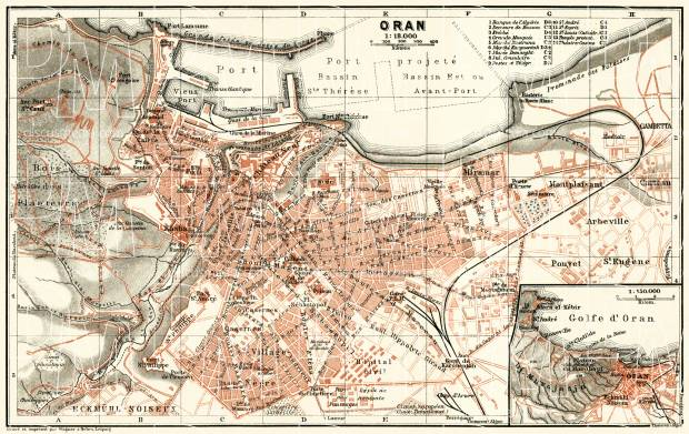 Oran (وهران) city map, 1909. Use the zooming tool to explore in higher level of detail. Obtain as a quality print or high resolution image
