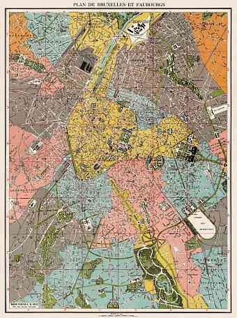 Brussels (Brussel, Bruxelles) and environs map, 1922