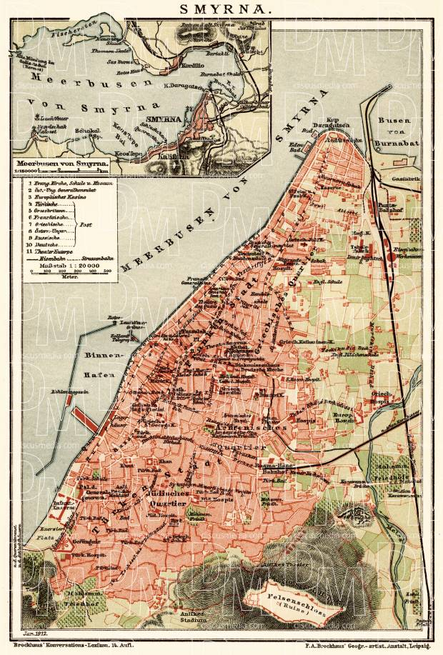 Old map of Smyrna Izmir and vicinity in 1912 Buy vintage map
