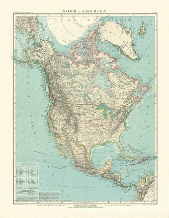 North America Map, 1905