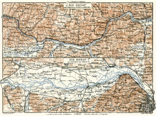 Danube River course map from Grein to Vienna, 1910. Use the zooming tool to explore in higher level of detail. Obtain as a quality print or high resolution image