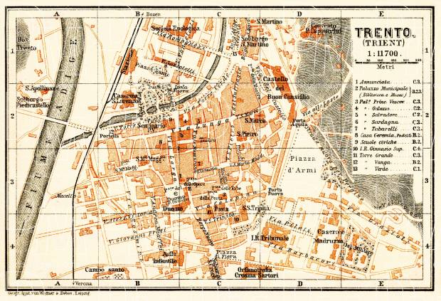 Trient (Trento) city map, 1908. Use the zooming tool to explore in higher level of detail. Obtain as a quality print or high resolution image