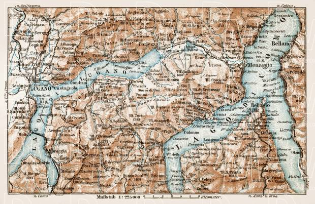 Map of the Como Lake (Lago di Como), 1913. Use the zooming tool to explore in higher level of detail. Obtain as a quality print or high resolution image