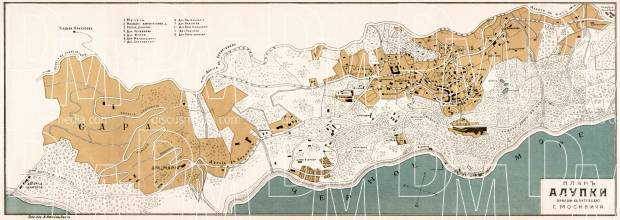 Alupka town plan, 1905. Use the zooming tool to explore in higher level of detail. Obtain as a quality print or high resolution image