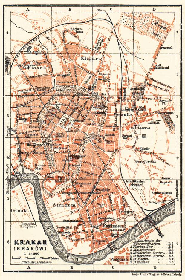 Krakau (Kraków) city map, 1911. Use the zooming tool to explore in higher level of detail. Obtain as a quality print or high resolution image