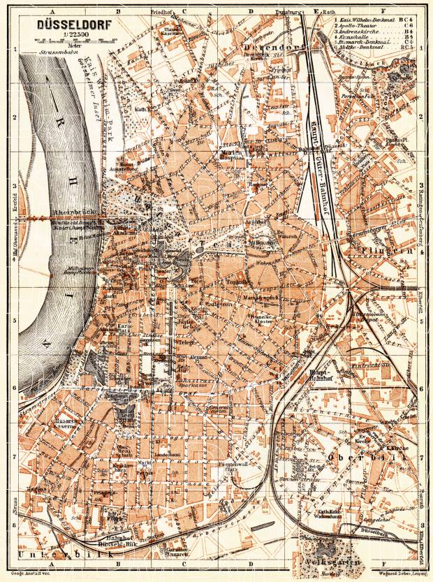 Düsseldorf city map, 1905. Use the zooming tool to explore in higher level of detail. Obtain as a quality print or high resolution image