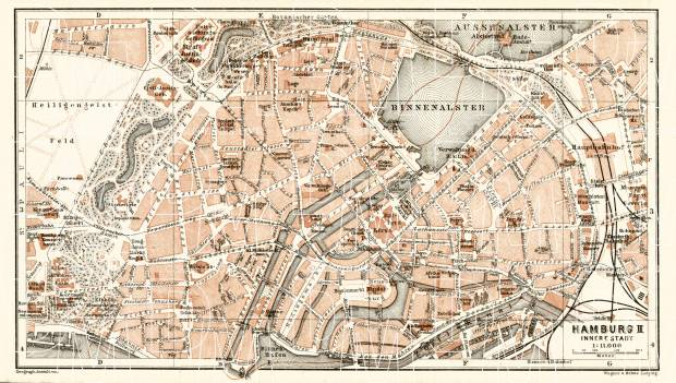 Hamburg central part map, 1906. Use the zooming tool to explore in higher level of detail. Obtain as a quality print or high resolution image