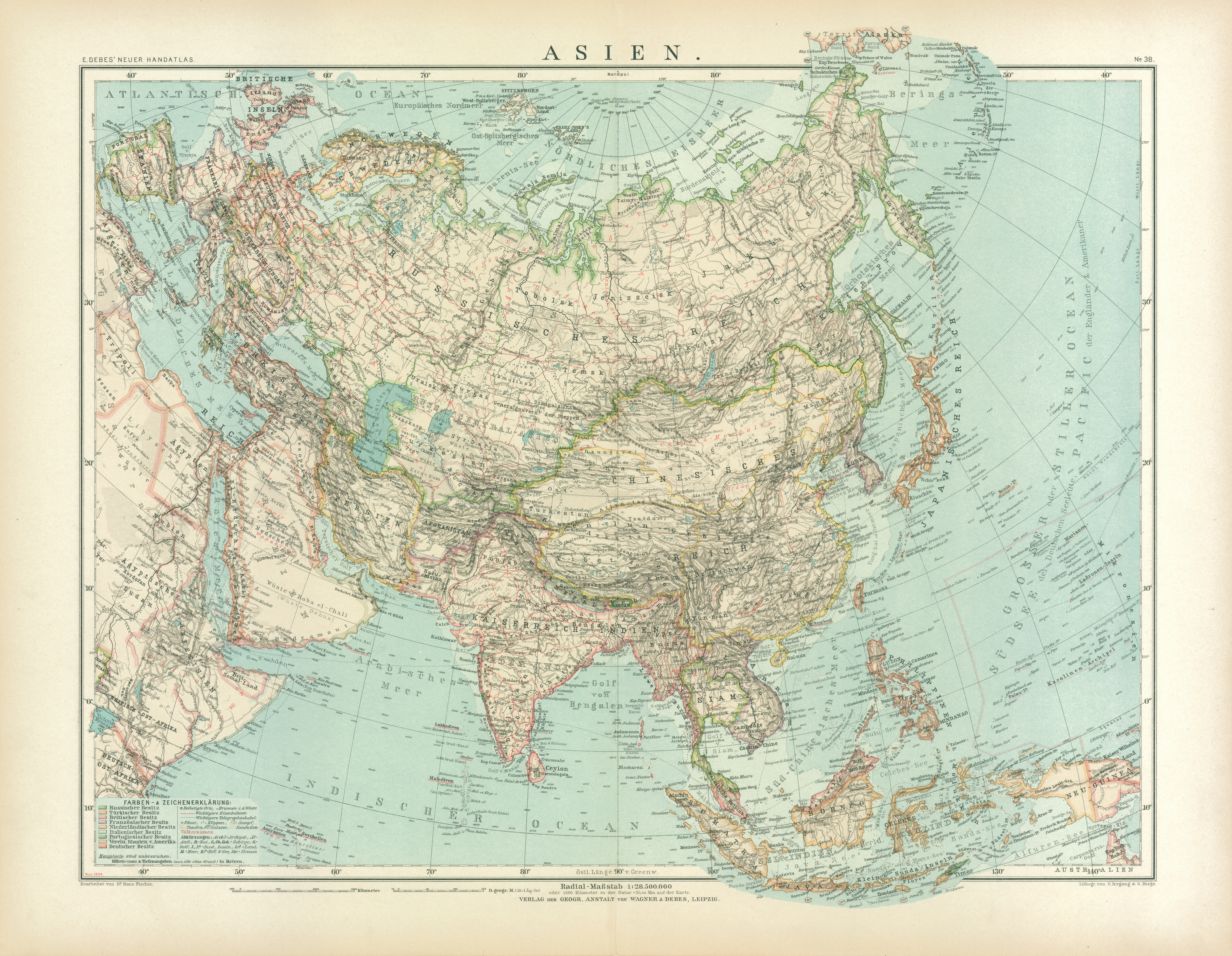 Asia General Map, 1905