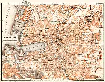 Marseille city map, 1900