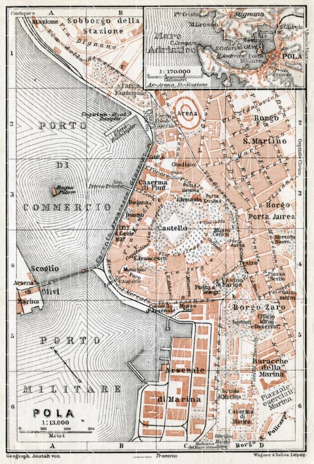 Pola (Pula) city map, 1910. Use the zooming tool to explore in higher level of detail. Obtain as a quality print or high resolution image
