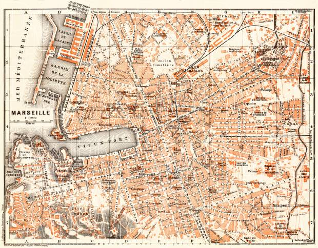 Marseille city map, 1900. Use the zooming tool to explore in higher level of detail. Obtain as a quality print or high resolution image