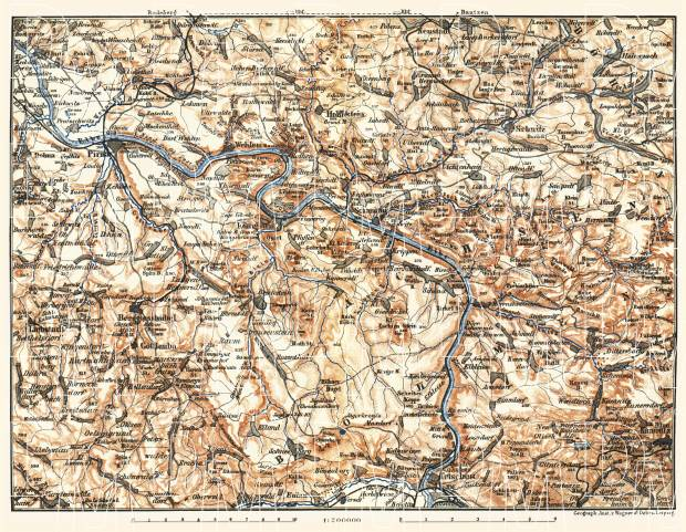 Schandau environs, Lower Saxony. Elbe River from Pirna to Tetschen (Děčín), 1897. Use the zooming tool to explore in higher level of detail. Obtain as a quality print or high resolution image
