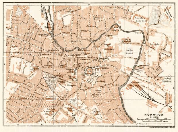 Old map of Norwich in 1906 Buy vintage map replica poster print or