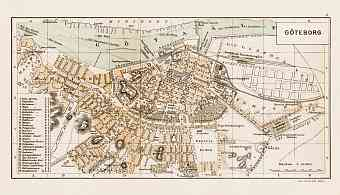 Göteborg (Gothenburg) city map, 1899